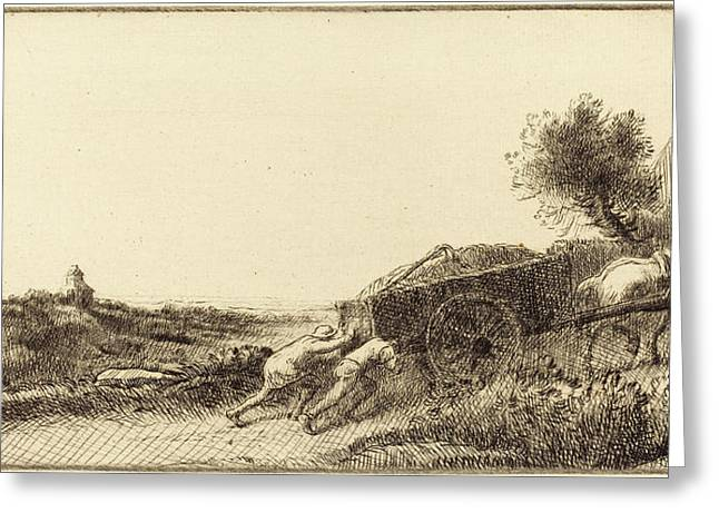 Alphonse Legros, Returning With The Hay Rentrant Le Foin Greeting Card