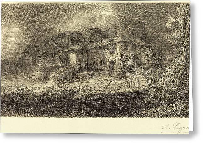 Alphonse Legros, Ruins Of A Chateau Les Ruins Du Chateau Greeting Card