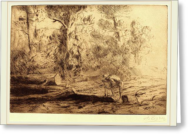 Alphonse Legros, Squaring Logs Homme Que Fend Des Buches Greeting Card by Litz Collection