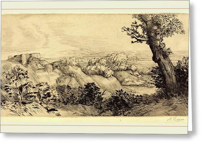 Alphonse Legros, Top Of The Hill Le Haut De La Colline Greeting Card