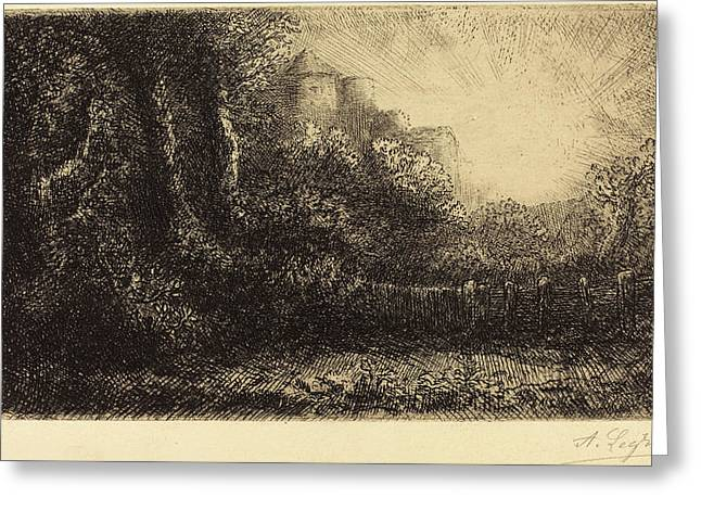 Alphonse Legros, View Of A Chateau Chateau De Poillet Greeting Card