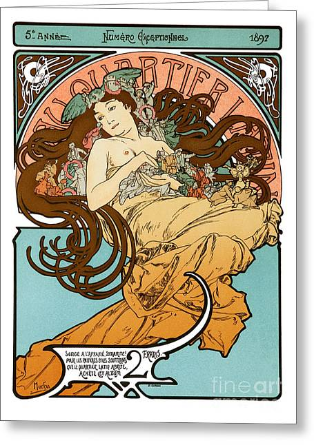 Alphonse Mucha - Au Quartier Latin Greeting Card by Pablo Romero