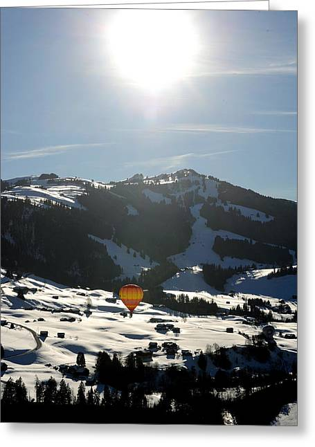 Alpine Balloon Greeting Card by Stephen Richards