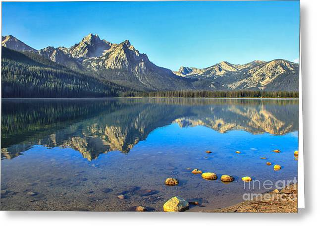 Alpine Lake Reflections Greeting Card by Robert Bales
