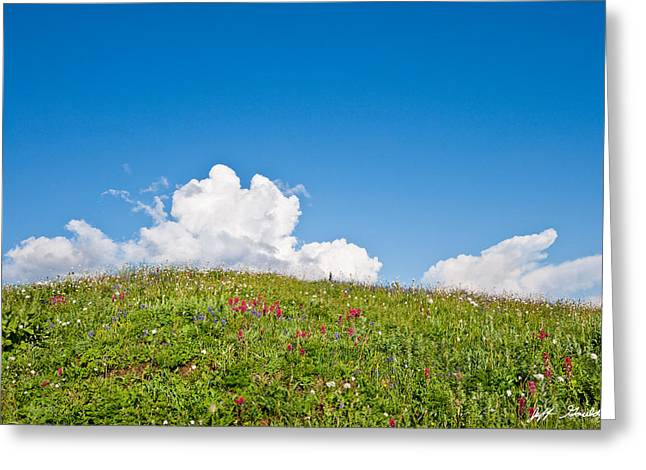 Alpine Meadow And Cloud Formation Greeting Card