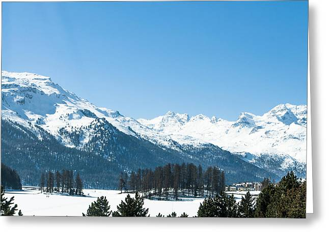 Alpine Panorama Near St. Moritz Greeting Card by Michael Brewer