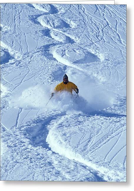 Alpine Skiing In Powder Greeting Card
