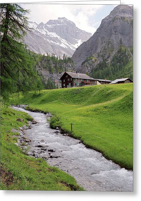 Alpine Stream And Hut Greeting Card