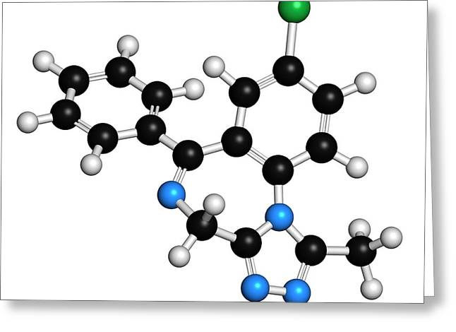 Alprazolam Drug Molecule Greeting Card by Molekuul
