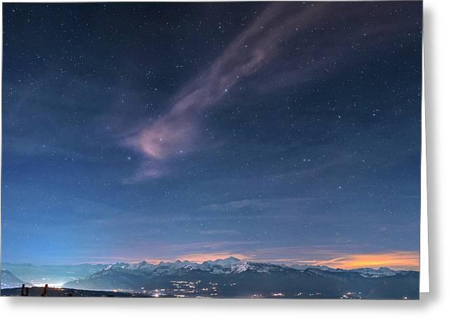 Alps At Dusk Greeting Card by Babak Tafreshi