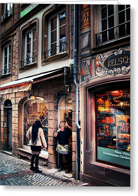 Greeting Card featuring the photograph Alsace Slice Of Life by Jim Hill