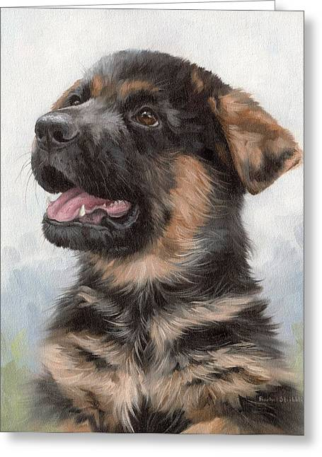 Alsatian Puppy Painting Greeting Card by Rachel Stribbling