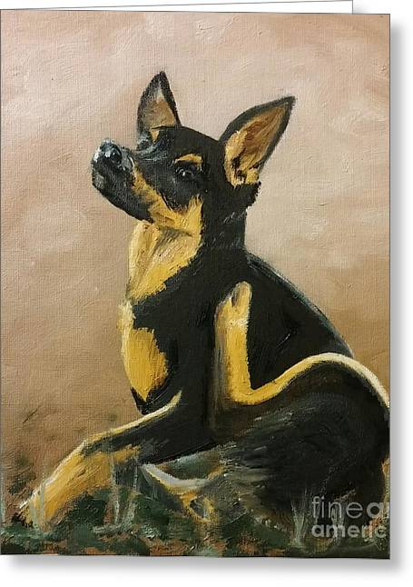 Alsatian Puppy Scratching Greeting Card by Isabella F Abbie Shores FRSA