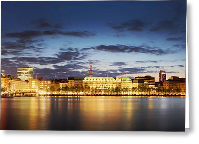 Alsterpanorama Hamburg Greeting Card by Marc Huebner