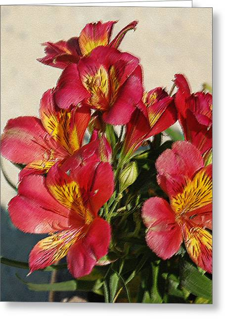 Alstroemeria In Pastel Greeting Card by Suzanne Gaff