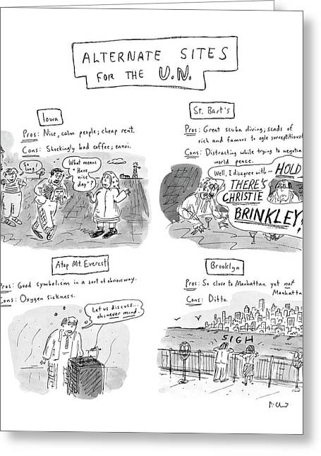 Alternate Sites For The U.n Greeting Card by Roz Chast