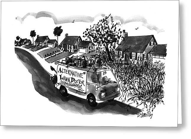 Alternative Lawn Doctor Greeting Card by Donald Reilly