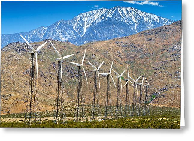 Alternative Power Wind Turbines Greeting Card by Susan Schmitz
