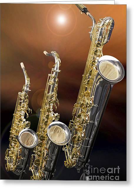 Alto Tenor Baritone Saxophone Photo In Color 3461.02 Greeting Card