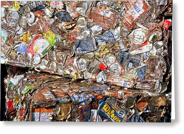 Aluminium Cans For Recycling Greeting Card by Alex Bartel/science Photo Library
