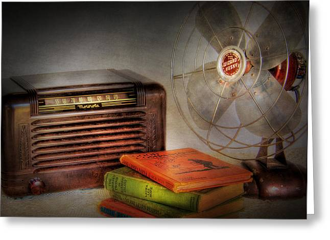 Am Radio Books And Electric Fan Greeting Card by David and Carol Kelly