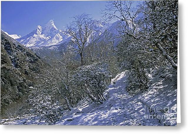 Ama Dablam In Winter Greeting Card by Rudi Prott