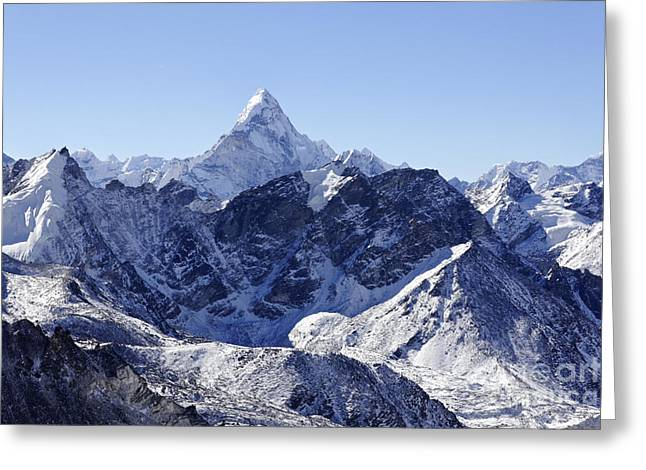 Ama Dablam Mountain Seen From The Summit Of Kala Pathar In The Everest Region Of Nepal Greeting Card by Robert Preston