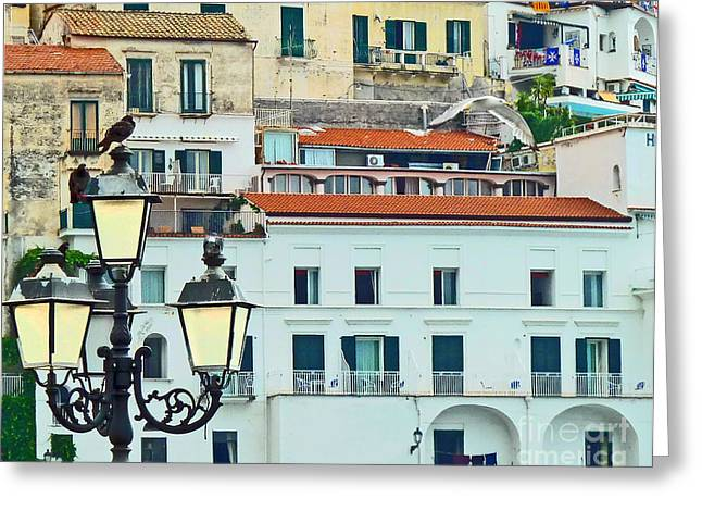 Greeting Card featuring the photograph Amalfi Birds And Lamps by Cheryl Del Toro