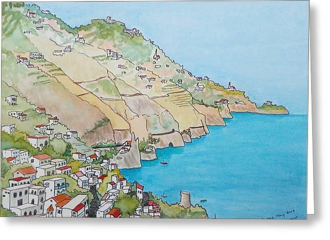 Amalfi Coast Praiano Italy Greeting Card by Mary Ellen Mueller Legault