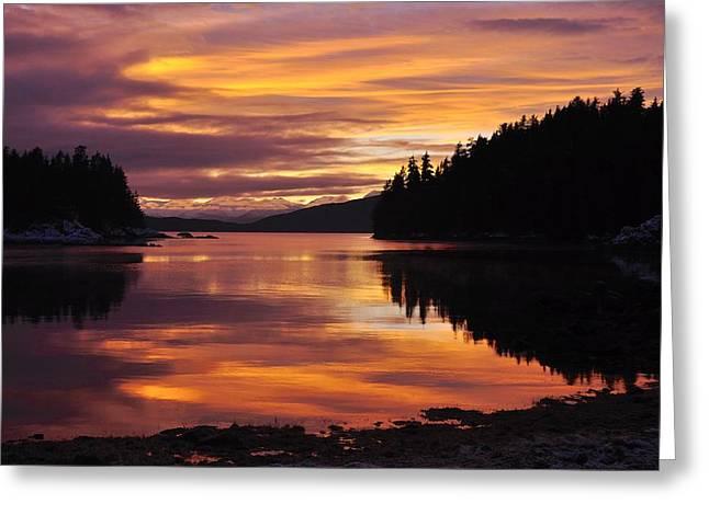 Amalga Harbor Sunset Greeting Card by Cathy Mahnke
