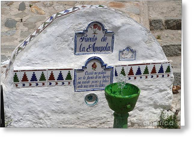 Amapola Fountain Granada Greeting Card by Phil Banks