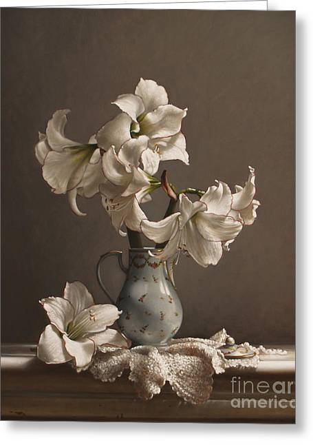 Amaryllis In A French Chocolate Pot Greeting Card by Lawrence Preston