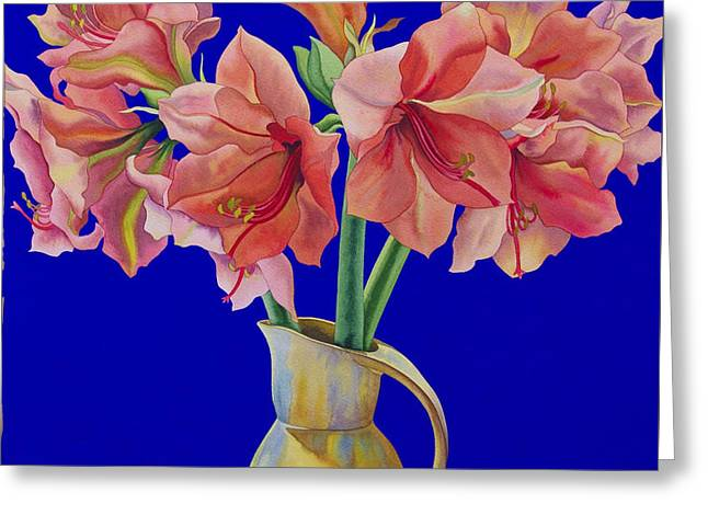 Amaryllis In A Jug Greeting Card by Christopher Ryland