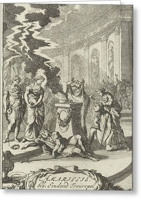 Amaryllis In A Temple Near The Body Of Damon Greeting Card by Caspar Luyken
