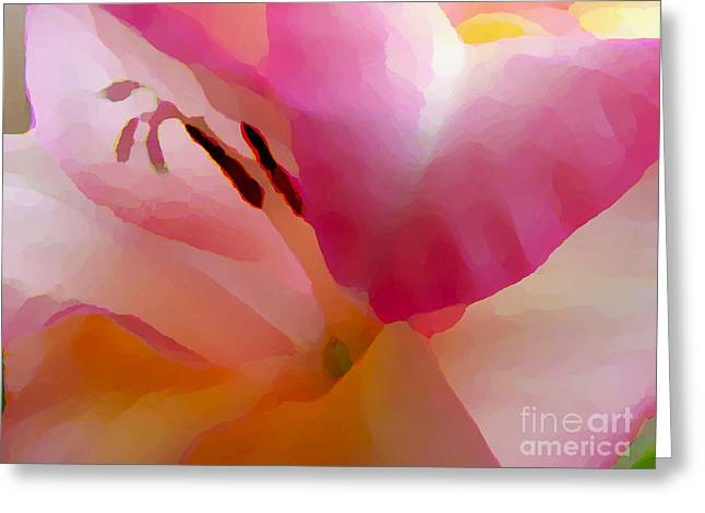 Gladiola Photo Painting Greeting Card by Rich Collins