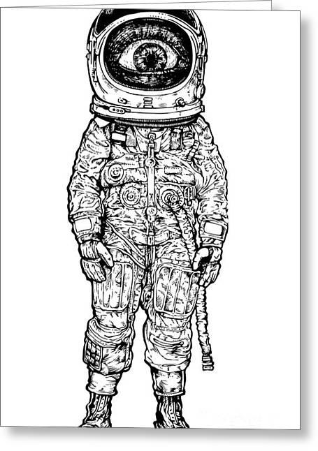 Amazement Astronaut. Vector Illustration Greeting Card