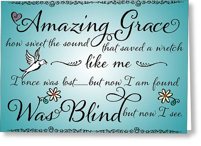 Amazing Grace Word Art Greeting Card