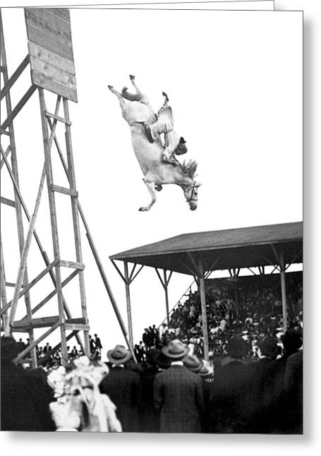 Amazing Horse Stunt Dive Greeting Card by Underwood Archives