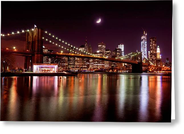 Amazing New York Skyline And Brooklyn Bridge With Moon Rising Greeting Card
