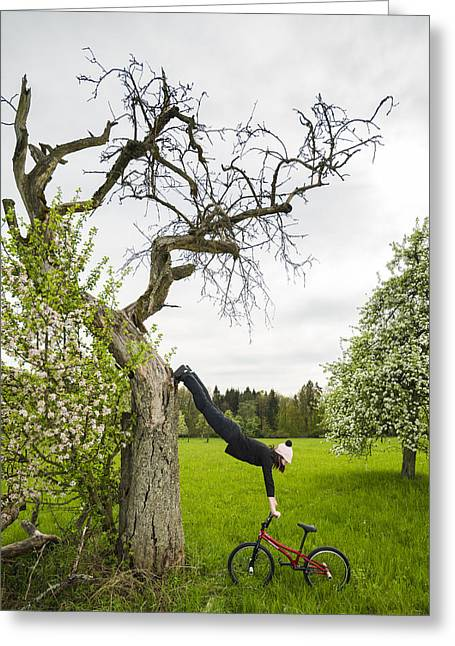 Amazing Stretching Exercise - Bmx Flatland Rider Monika Hinz Uses A Tree Greeting Card by Matthias Hauser