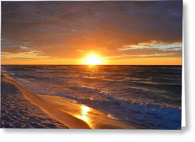 Greeting Card featuring the photograph Amazing Sunrise Colors And Waves On Navarre Beach by Jeff at JSJ Photography