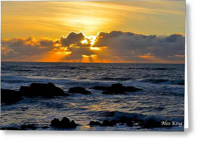 Amazing Sunset Greeting Card by Alex King