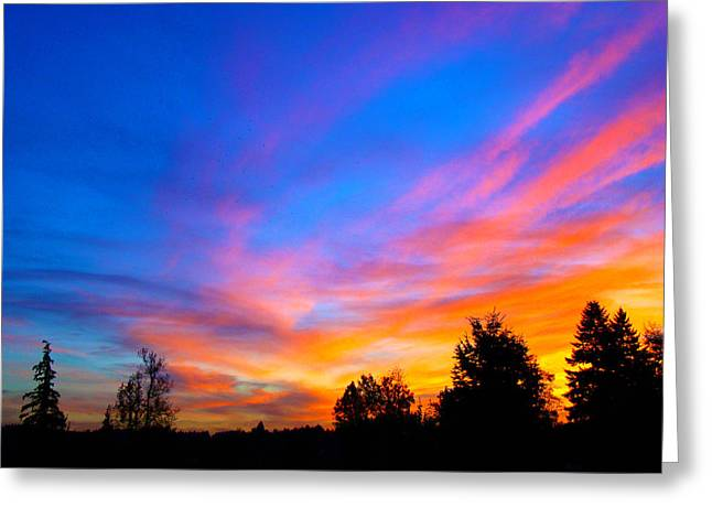 Amazing Sunset Greeting Card by Lisa Rose Musselwhite