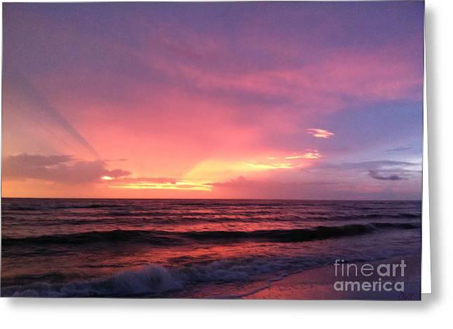 Amazing Sunset. Naples.usa Greeting Card by Oksana Semenchenko