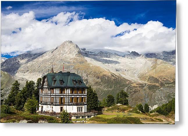 Amazing Villa Cassel In The Swiss Alps Switzerland Greeting Card by Matthias Hauser