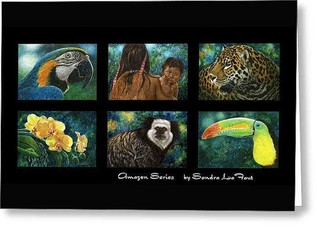 Greeting Card featuring the mixed media Amazon Series Collage by Sandra LaFaut