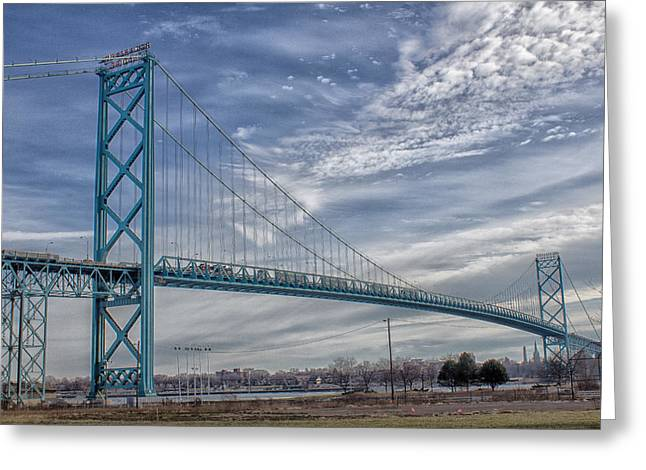 Ambassador Bridge From Detroit Mi To Windsor Canada Greeting Card