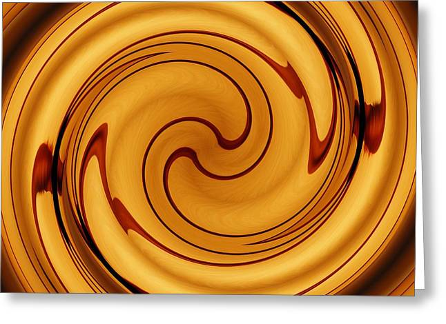 Amber Square Swirl 2 Greeting Card by Sarah Loft