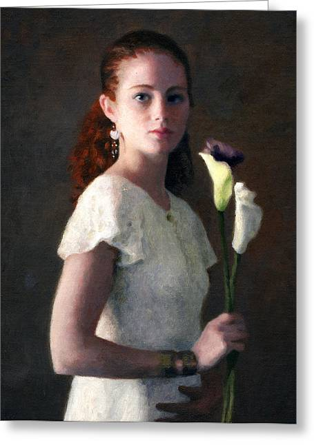 Amber With Lilies Greeting Card by Charles Pompilius