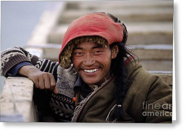 Amdo Smile - Tibet Greeting Card by Craig Lovell